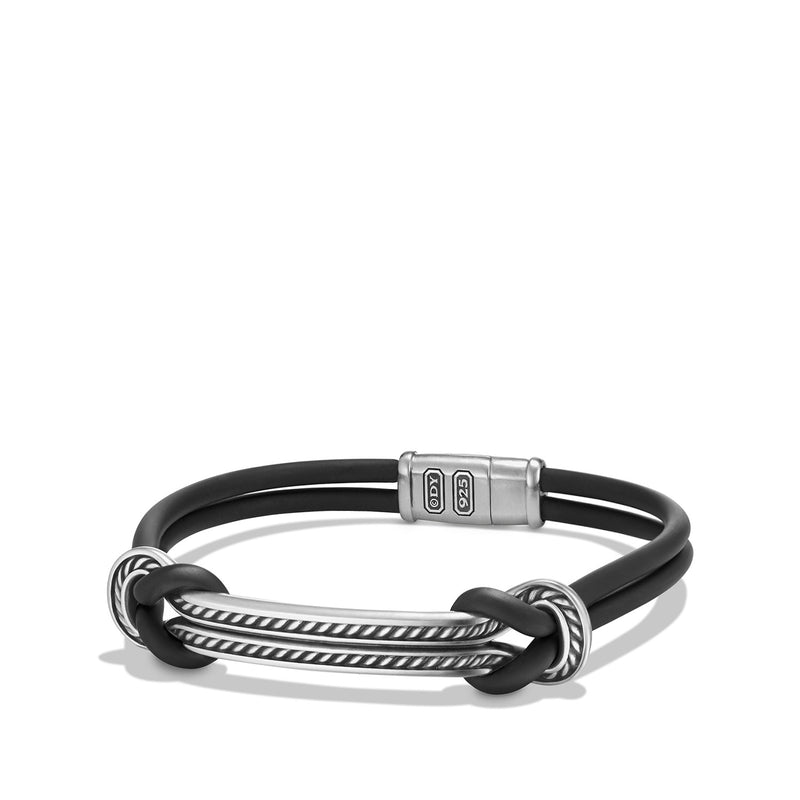 Men's Maritime Rubber ID Bracelet in Black
