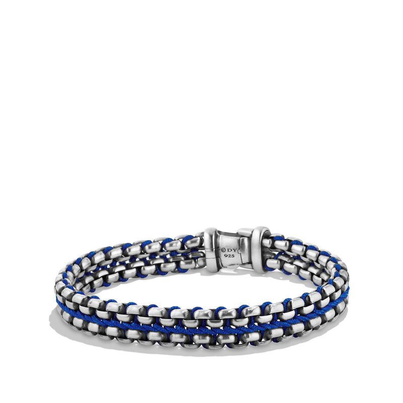 Men's Woven Box Chain Bracelet in Blue