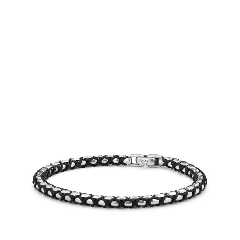 Men's Black Nylon Woven Box Chain Bracelet, 4.8mm