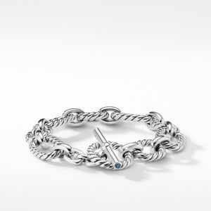 Cushion Link Bracelet with Blue Sapphires, 12.5mm