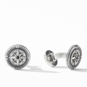 Men's Maritime Compass Cufflinks with Center Black Diamond