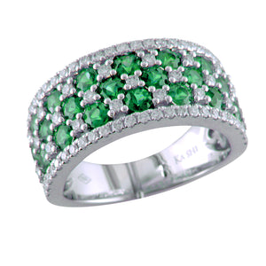 S. Kashi Emerald & Diamond Wide Right Hand Cocktail Ring 18K