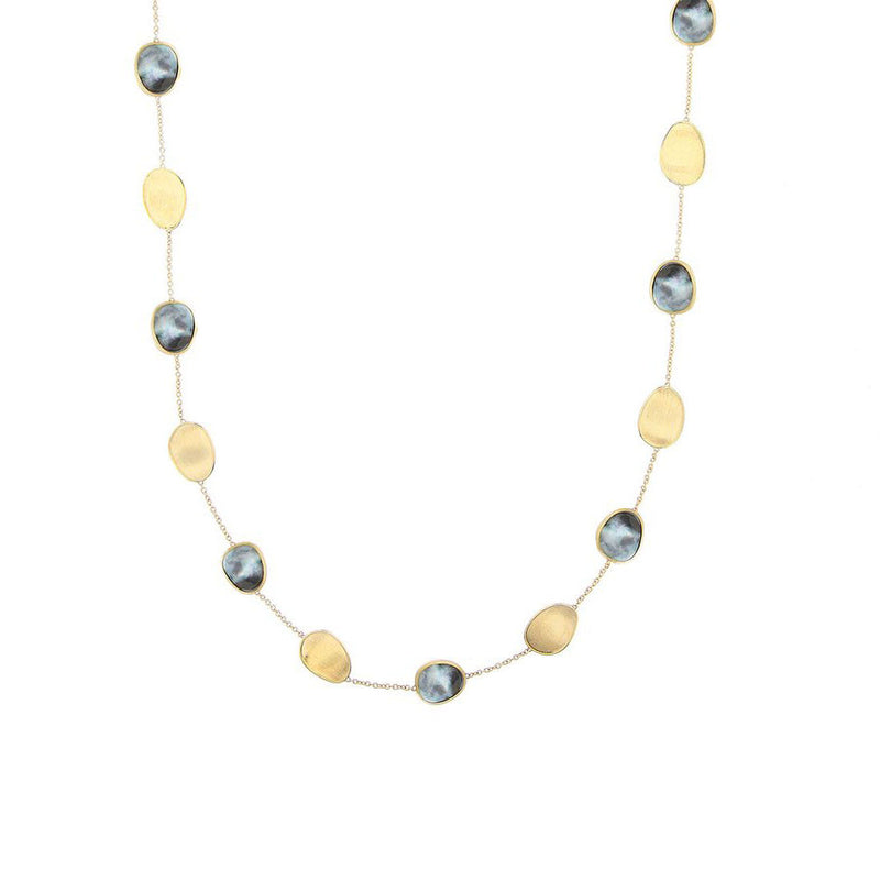 Marco Bicego 18 karat yellow gold 16 inch black mother of pearl Lunaria necklace CB2099 MPB Y