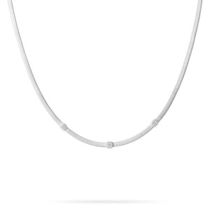 Marco Bicego 18 karat white gold Masai necklace with three diamond stations CG731 B2 W