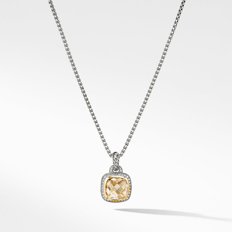 Albion 11MM Pendant with Champagne Citrine and Diamonds with 18K Gold