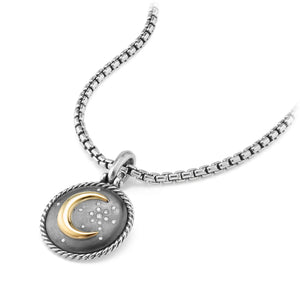 Moon and Star Amulet with Diamonds and 18k Gold