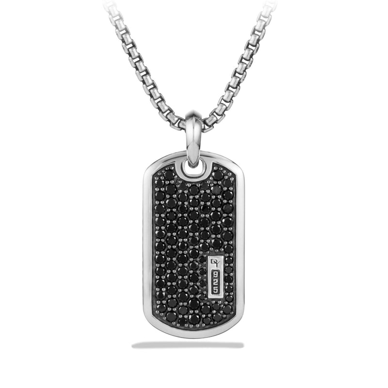 Men's Tag Necklace with Pave Black Diamonds