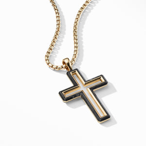 Men's Forged Carbon Cross Pendant with 18K Gold