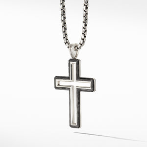 Men's Forged Carbon Cross Pendant 37MM
