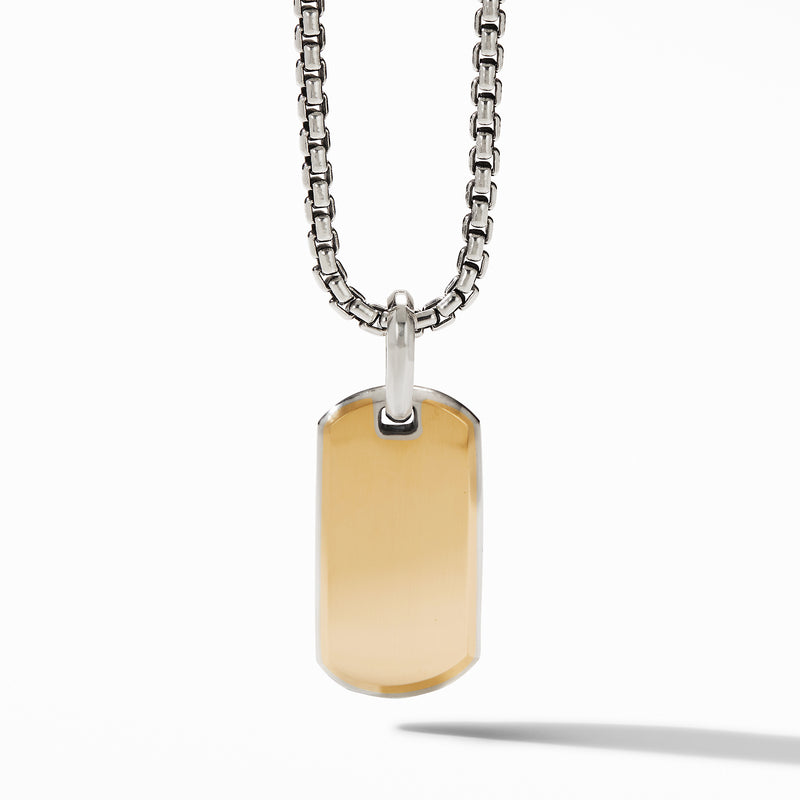 Men's Streamline Tag with 18K Yellow Gold