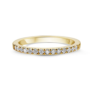 14k Gold Ladies Light Scoop Wedding Band with Diamonds Half Way Around - DR01110