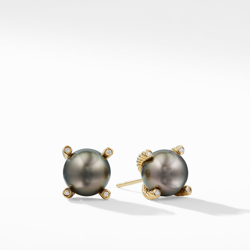 Solari Tahitian Grey Pearl Earrings with Diamonds in 18K Gold