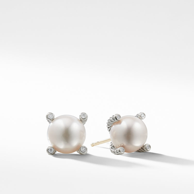 Cable Collectibles Pearl Earrings with Diamonds 14MM