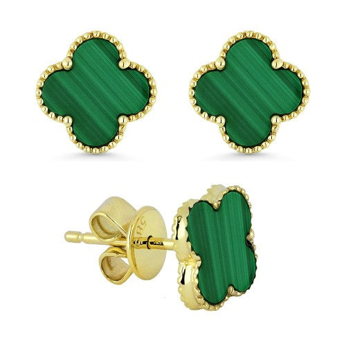 14K Yellow Gold Four-Leaf Clover Malachite Studs