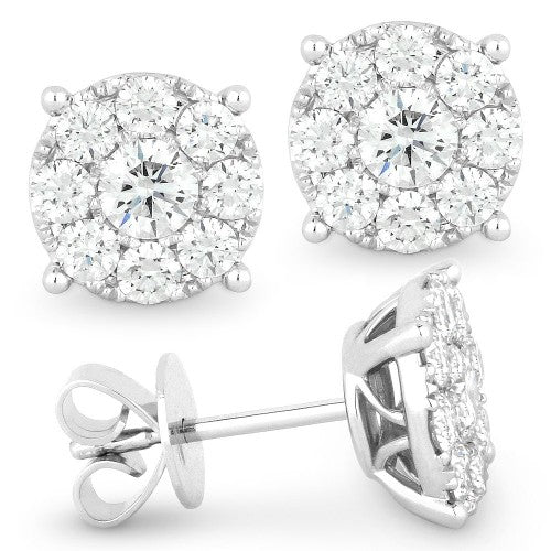 14k White Gold diamond cluster stud earrings with friction posts