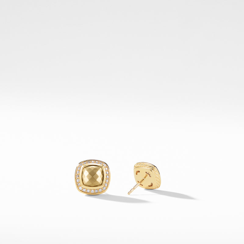 Albion 18K Gold Dome  Earrings with Diamonds 7MM