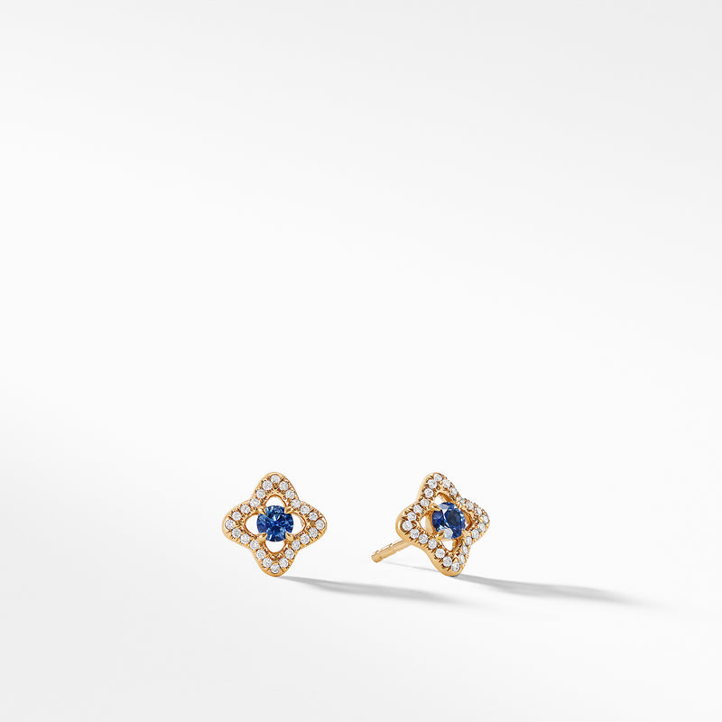 Venetian Quatrefoil Earrings with Blue Sapphires and Diamonds in 18K Gold