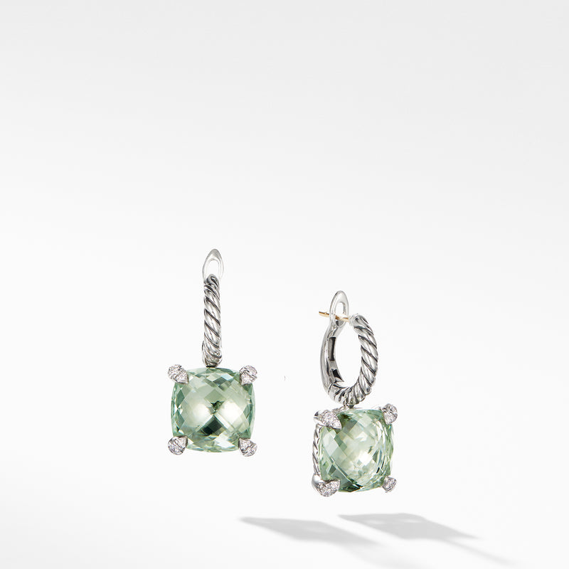 Chatelaine Drop Earrings with Prasiolite and Diamonds