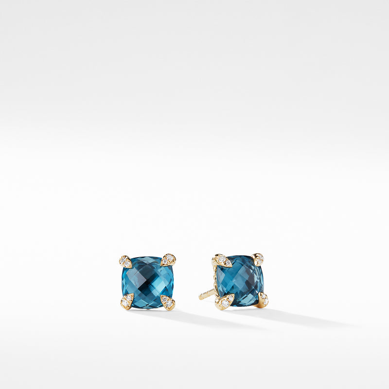 Chatelaine 8MM Earrings with Hampton Blue Topaz in 18K Gold