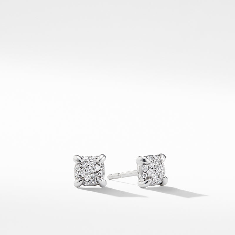 Chatelaine 5MM Stud Earrings with Diamonds in 18K White Gold