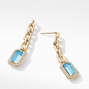 Novella Chain Drop Earrings in 18K Yellow Gold with Blue Topaz and Diamonds