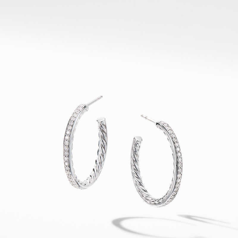 Small Hoop Earrings with Pave Diamonds 25MM