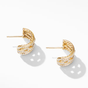 Stax Chain Link and Pave Huggie Hoops in 18K Yellow Gold