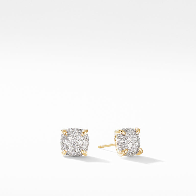 Chatelaine Full Pave Diamonds Stud Earrings in 18K Yellow Gold 7mm