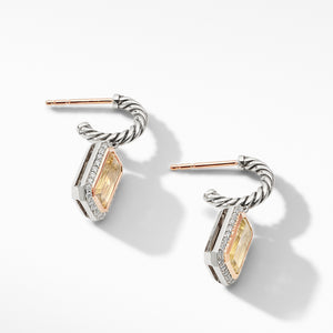 Novella Drop Earrings with Champagne Citrine, Pave Diamonds and 18K Rose Gold