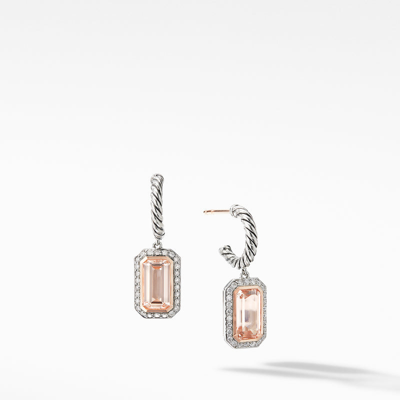 Novella Drop Earrings with Morganite, Pave Diamonds and 18K Rose Gold