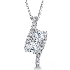 "Forevermark ""Ever Us"" Two Stone Diamond Pendant Necklace 18K White Gold 3/4 Carats tw"
