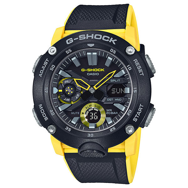 Casio G-Shock GA-2000-1A9 Carbon Core Guard Yellow & Black Watch