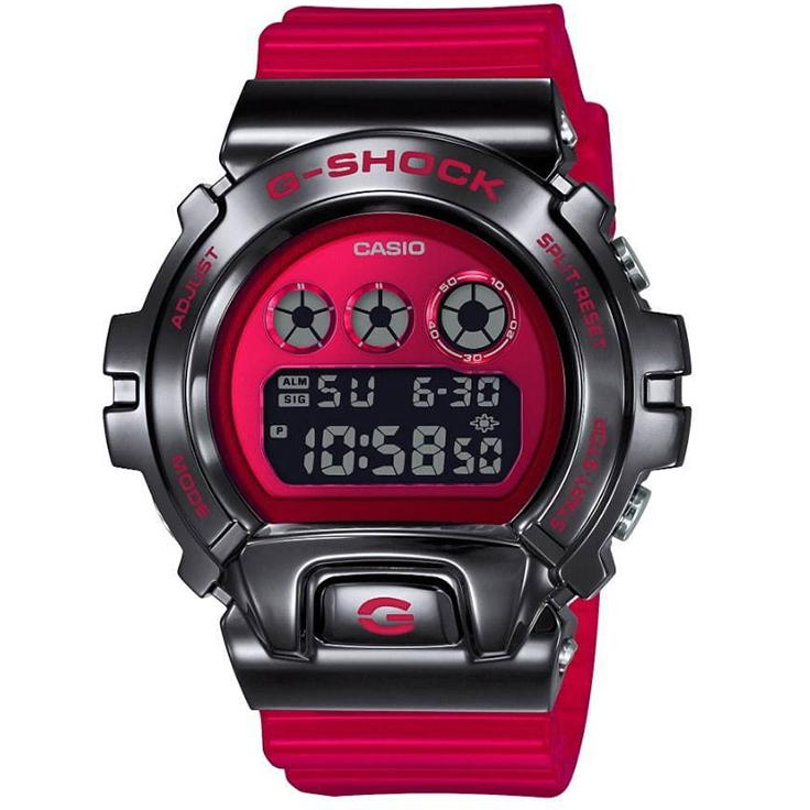 Casio G-Shock GM-6900B-4 Red Stainless Steel Metal Bezel 25th
