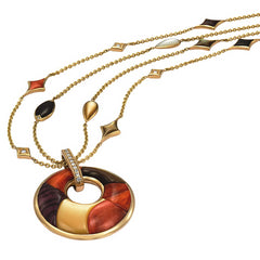 Kabana Riviera Mixed Spiny Oyster and Mother of Pearl in Yellow Gold Pendant Necklace GNK361MMS-18