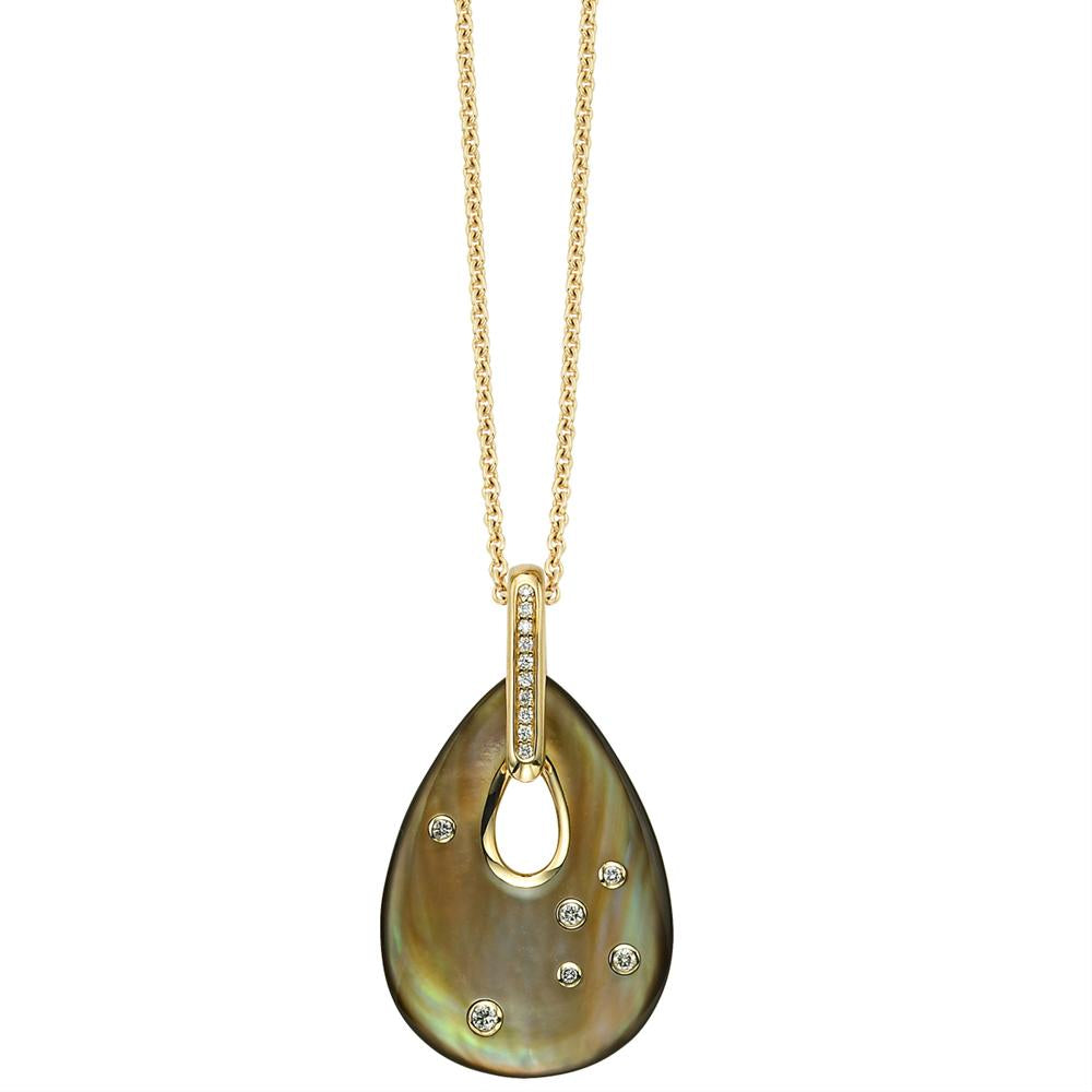 Kabana Teardrop Pendant Black Mother of Pearl & Diamonds GPCF576MZ
