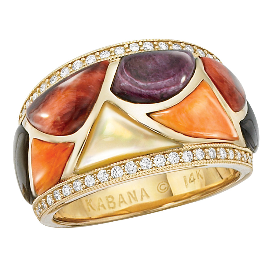 Kabana Riviera Multicolored Spiny Oyster with Mother of Pearl Yellow Gold Ring GRIF410MMS