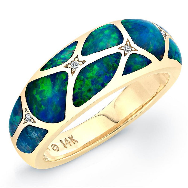 Kabana Opal Inlay Diamond 14K Yellow Gold Ring GRIF503X