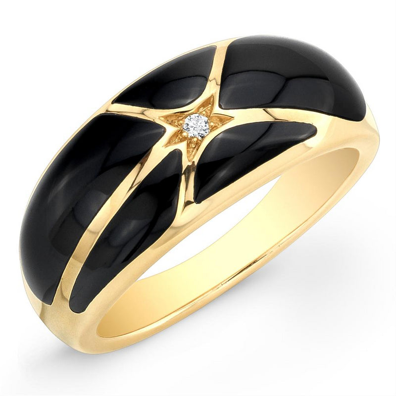 Kabana Onyx Inlay Diamond Yellow Gold Ring GRIF516OX