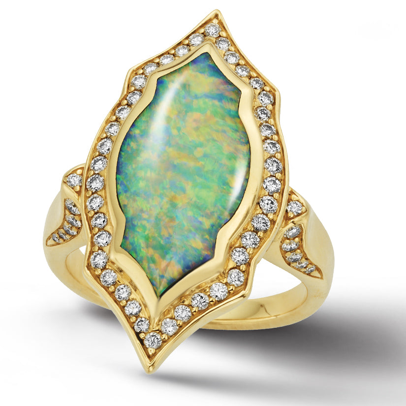Kabana Opal Inlay Yellow Gold Diamond Gothic Ring GRIF553XX
