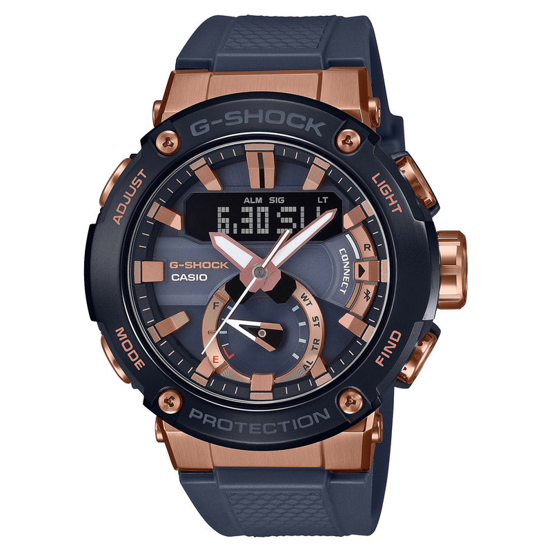 Casio G-Shock G-Steel Blue Rose Gold Carbon Core Watch GSTB200G-2A