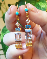 Jane Taylor Cirque Tassel Yellow Gold Earrings London Blue Topaz stamford ct