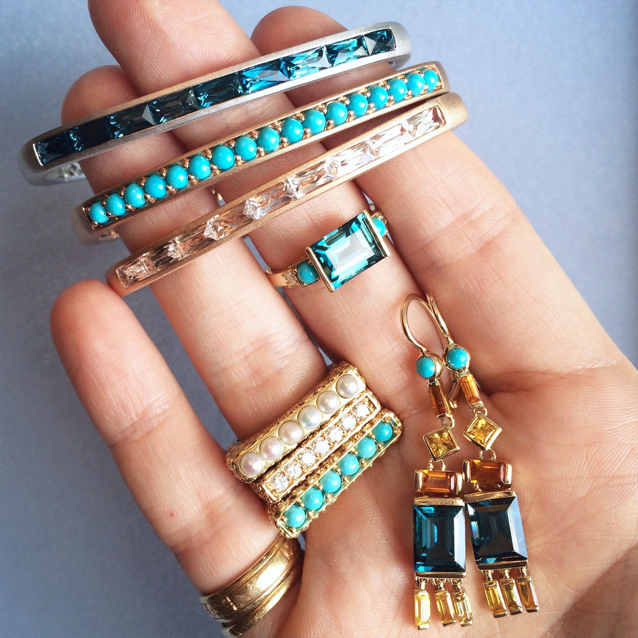 Jane Taylor Cirque Tassel Yellow Gold Earrings London Blue Topaz, Yellow Sapphire & White Topaz