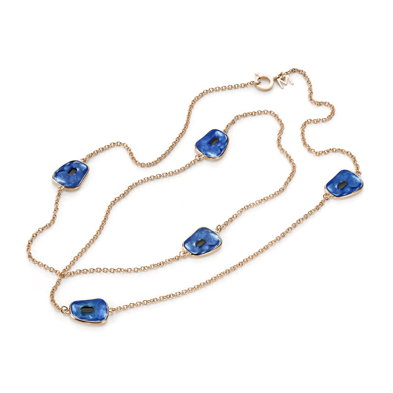 Mattioli Puzzle 5 Station Necklace 18K Rose Gold Blue Mother of Pearl