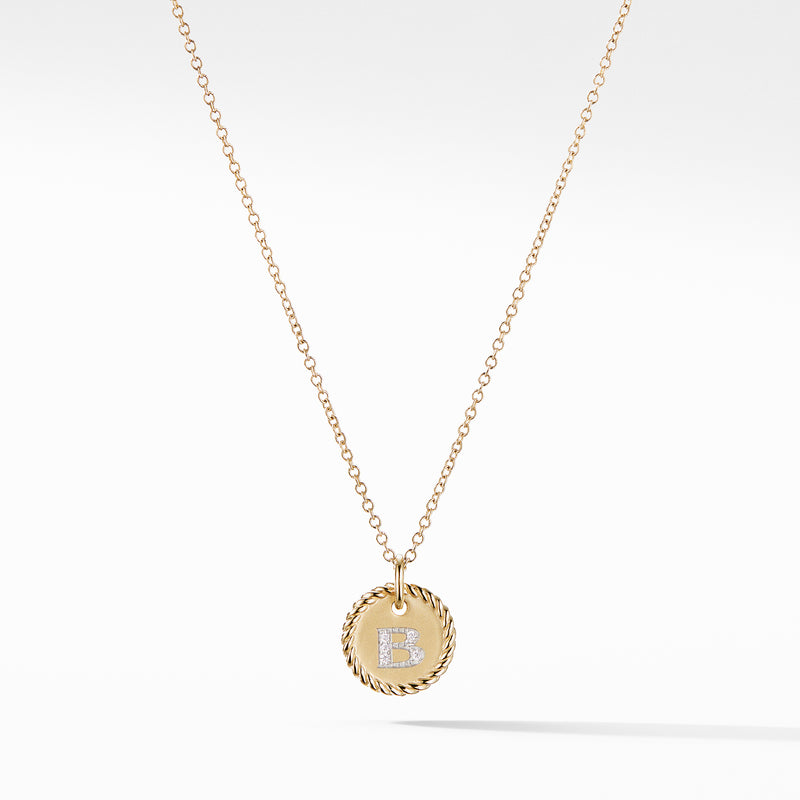 "Initial ""B"" Pendant with Diamonds in Gold on Chain"