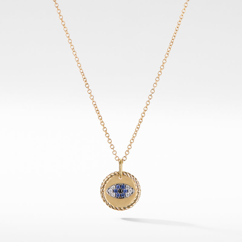 Evil Eye Cable Collectibles Charm Necklace with Blue Sapphire, Black Diamonds, and Diamonds