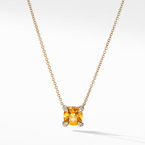 Chatelaine Necklace 7MM with Citrine and Diamonds in 18k Gold