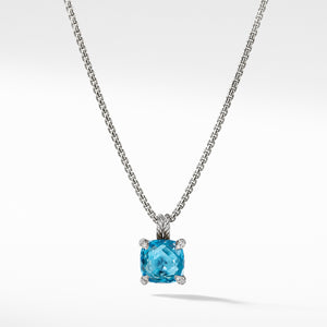 Chatelaine Pendant Necklace with Blue Topaz and Diamonds 11mm
