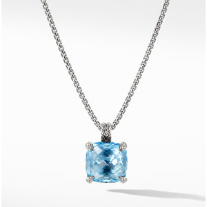 Chatelaine Pendant Necklace with Blue Topaz and Diamonds, 14mm