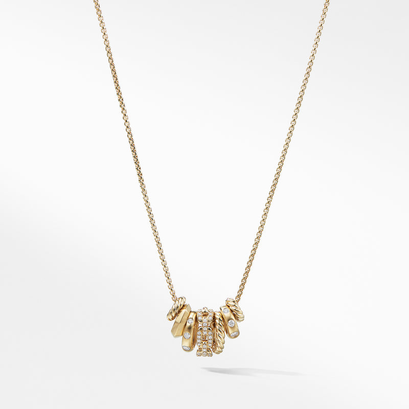 Stax Rondelle Pendant Necklace with Diamonds in 18K Gold