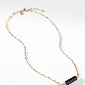 Barrels Single Station Necklace with Black Onyx and Diamonds in 18K Gold